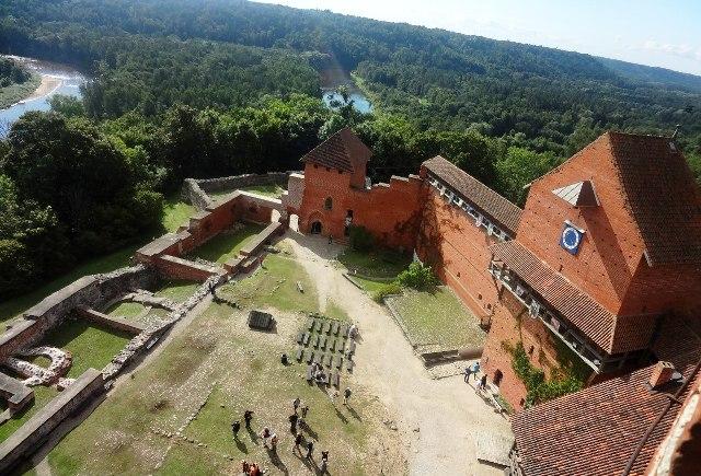 Латвия. Турайдский замок. Вид с Главной башни на двор